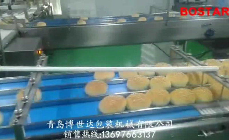 Automatic hamburger bun packaging line